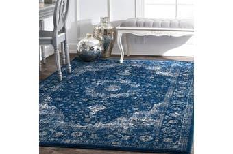 (0.6m x 0.9m, Dark Blue) - nuLOOM Paisley Verona Vintage Persian Accent Rug, 0.6m x 0.9m, Dark Blue