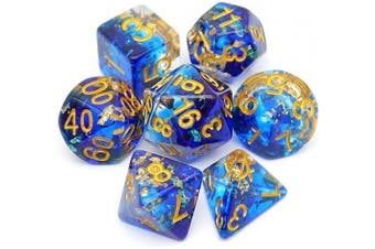 (Blue Clear Gold Foil) - Haxtec DND Dice for Dungeons and Dragons Roleplaying Games (Blue Clear Gold Foil)