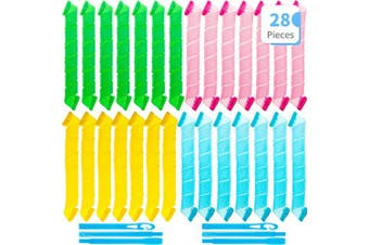 (55 cm) - 28 Pieces Hair Curlers Spiral Curls No Heat Wave Hair Curlers Styling Kit Spiral Hair Curlers Magic Hair Rollers with 2 Pieces Styling Hooks for Extra Long Hair Most Kinds of Hairstyles (55 cm)