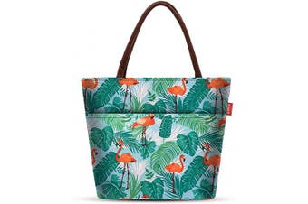 (Flamingo) - Lunch Bags for Women Insulated Lunch Box Large Cooler Tote Bag Adult Flamingo Aosbos