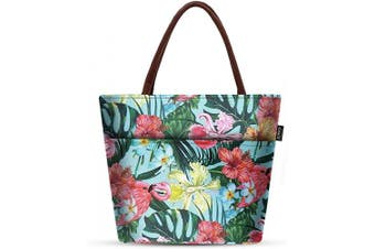 (Floral Flamingo) - Lunch Bags for Women Insulated - LunchBox Large Cooler Tote Bag Adult Floral Flamingo Aosbos