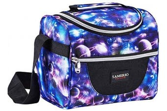 (Starry) - Lunch Box for Kids Insulated Lunch Bag for Boys Girls Cooler Tote Reusable Bento Bags Smooth Zipper & Lightweight Lunch Boxes for Children Student with Adjustable Strap (Starry)