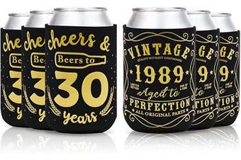 (30th birthday can sleeve) - Cheers & Beers to 30 Years Can Cooler Vintage 1989 30th Birthday Party Favour Decorations Supplies Can Coolie Beer Sleeves Black and Gold Neoprene Coolers for Soda Beer Can Beverage Set of 12
