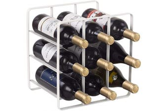 (White-cuboid) - Buruis 9 Bottles Metal Wine Rack, Countertop Cabinet Wine Holder Storage Stand, Space Saver Protector for Red & White Wines - No Assembly Required - White