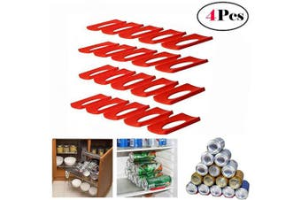 (4 Pcs) - FashionMall 4 Pcs Foldable Silicone Wine Stacker Set,Beer Can Rack Wine Bottle Holder for Refrigerator Cabinet (4 Pcs)