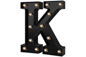 (Cool Black-k) - Adorn Life Led Marquee Letter Lights Newly Design Light up Letters for Events Wedding Party Birthday Home Bar DIY Decoration(Cool Black K)