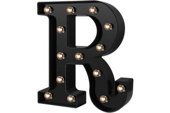 (Cool Black-r) - Newly Design Led Letters Numbers Lights 26 Alphabet & Arabic Numerals 0-9 Black Decorative Marquee Lamps for Events Wedding Party Birthday Home Bar(Cool Black R)