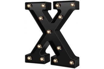 (Cool Black-x) - Newly Design Led Letters Numbers Lights 26 Alphabet & Arabic Numerals 0-9 Black Decorative Marquee Lamps for Events Wedding Party Birthday Home Bar(Cool Black X)