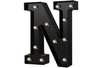 (Cool Black-n) - Newly Design Led Letters Numbers Lights 26 Alphabet & Arabic Numerals 0-9 Black Decorative Marquee Lamps for Events Wedding Party Birthday Home Bar(Cool Black N)