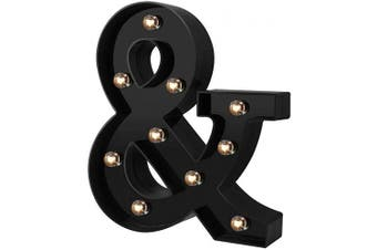 (Cool Black-&) - Newly Design Led Letters Numbers Lights 26 Alphabet & Arabic Numerals 0-9 Black Decorative Marquee Lamps for Events Wedding Party Birthday Home Bar(Cool Black & )