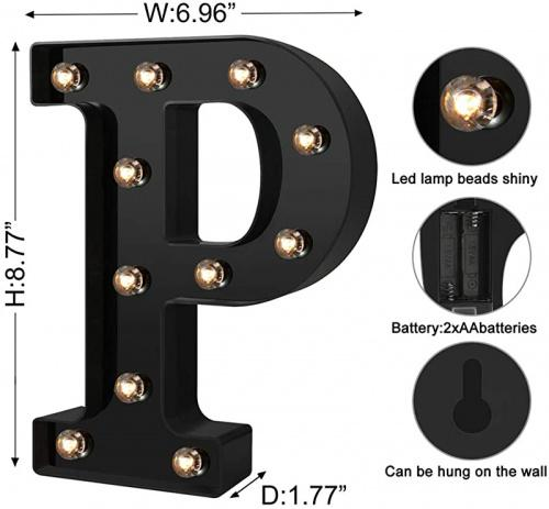 Cool Black P Newly Design Led Letters Numbers Lights 26 Alphabet /& Arabic Numerals 0-9 Black Decorative Marquee Lamps for Events Wedding Party Birthday Home Bar