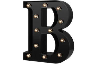 (Cool Black-b) - Newly Design Led Letters Numbers Lights 26 Alphabet & Arabic Numerals 0-9 Black Decorative Marquee Lamps for Events Wedding Party Birthday Home Bar(Cool Black B)
