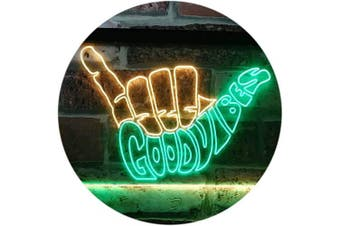 (41cm  x 30cm , Green & Yellow) - ADVPRO Good Vibes Only Hand Party Decoration Dual Colour LED Neon Sign Green & Yellow 41cm x 30cm st6s43-i1076-gy