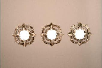 (Gold Moroccan) - All American Collection New 3 Piece Decorative Mirror Set, Wall Accent Display (Gold Moroccan)