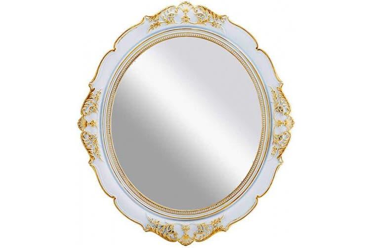 Large White Omiro Decorative Wall Mirror Vintage Hanging Mirrors For Bedroom Living Room Dresser Decor Oval Antique White 33cm W X 38cm L Kogan Com