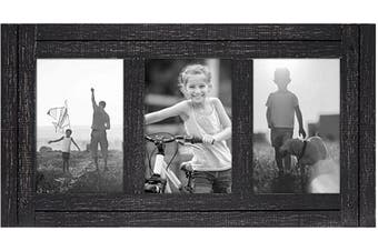 (3 4x6 Openings, Charcoal) - Americanflat Collage Picture Frame in Charcoal Black with Three Displays Textured MDF and Polished Glass for Wall and Tabletop - 10cm x 15cm