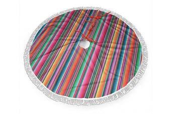 (120cm , Mexican Blanket Serape Stripe) - BWBFVPW 120cm Christmas Tree Skirt with Fringed Edge Mexican Blanket Serape Stripe Xmas Tree Skirt for Christmas Decoration