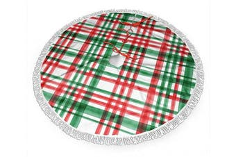 (80cm , Christmas Green and Red Watercolor Plaid) - BWBFVPW 80cm Christmas Tree Skirt with Fringed Edge Christmas Green and Red Watercolour Plaid Xmas Tree Skirt for Christmas Decoration