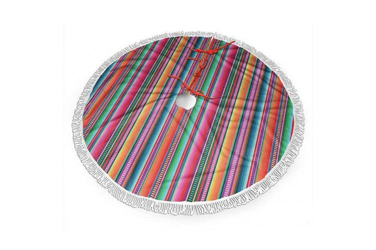 (90cm , Mexican Blanket Serape Stripe) - BWBFVPW 90cm Christmas Tree Skirt with Fringed Edge Mexican Blanket Serape Stripe Xmas Tree Skirt for Christmas Decoration