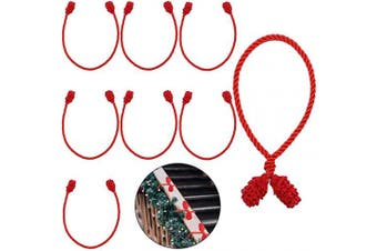 (8, Red) - Cooraby 8 Pieces Red Decorative Garland Ties Garland Flexible Ties for Holiday Decorations Christmas Craft Gift Wrapping (Red, 8)