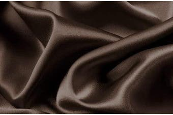 (Queen, Brown/Coffee) - Mk Collection 4pc Soft Silky Satin Solid Colour Deep Pocket Sheet Set (Brown/Coffee, Queen)