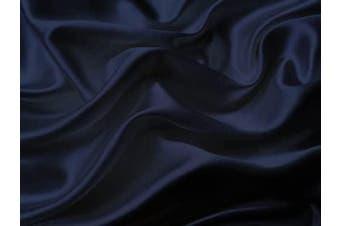 (Queen, Navy Blue) - Mk Collection 4pc Soft Silky Satin Solid Colour Deep Pocket Sheet Set (Navy Blue, Queen)