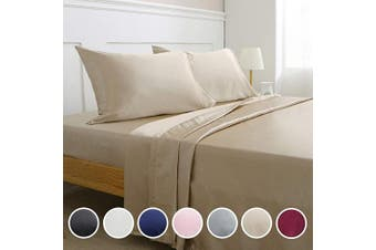 (Queen, Taupe) - Vonty Satin Sheets Queen Size Silky Soft Satin Bed Sheets Taupe Satin Sheet Set, 1 Deep Pocket + 1 Fitted Sheet + 1 Flat Sheet + 2 Pillowcases