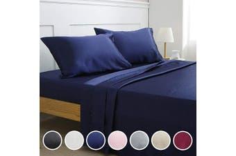 (Queen, Navy Blue) - Vonty Satin Sheets Queen Size Silky Soft Satin Bed Sheets Navy Blue Satin Sheet Set, 1 Deep Pocket + 1 Fitted Sheet + 1 Flat Sheet + 2 Pillowcases