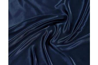 (Queen, Navy Blue) - Linen Plus Satin Sheet Set Soft Silk Cosy Solid New (Navy Blue, Queen)