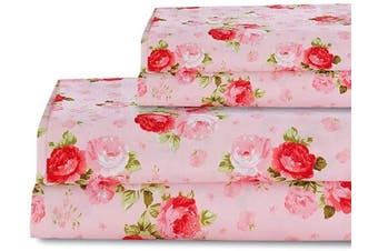 (Queen, 1) - Bedlifes Rose Floral Sheet Set Luxury Ultra Soft Wrinkle-Free Hypoallergenic Pattern Printed Bed Sheets Deep Pocket Flat Sheet & Fitted Sheet & Pillowcases 100% Microfiber 4 Piece Queen Pink Flowers