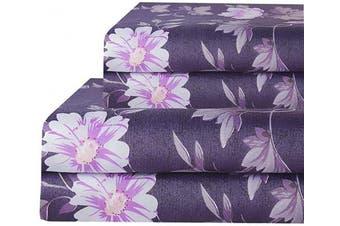 (Twin, Purple Floral) - Bedlifes Purple Twin Sheet Set Floral Luxury Ultra Soft Wrinkle-Free Hypoallergenic Flowers Pattern Printed Bed Sheets Deep Pocket Flat Sheet & Fitted Sheet & Pillowcase 100% Microfiber 3 Piece