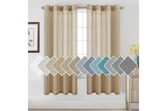 (130cm W x 180cm L, Taffy) - H.VERSAILTEX Window Treatments Linen Curtain Panels Open Weave - Natural Linen Blended Sheer Curtains with Nickel Grommet for Living Room, Privacy Assured (Taffy, 130cm by 180cm , Set of 2)