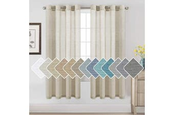 (130cm W x 180cm L, Natural) - H.VERSAILTEX 180cm Linen Curtains for Living Room/Home Decorative Rich Natural Linen Sheer Curtains for Bedroom/Laundry - 2 Panels - Elegant Nickel Grommet Top - 52x 72 - Inch, Natural