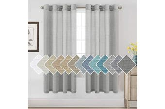 (130cm W x 180cm L, Grey) - H.VERSAILTEX Linen Sheer Curtains 72 Pair Set Linen Textured Sheer Curtains Nickel Grommet Window Treatment Panels for Villa/Hall/Parlour, Open Weave - Grey - 130cm W x 180cm L