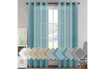 (130cm W x 240cm L, Turquoise) - Elegant Natural Linen Curtain Panels Energy Efficient Semi - Sheers Linen Curtains/Nickel Grommet Window Treatments Panels for Patio Glass Door/Balcony (Set of 2, Turquoise, 130cm by 240cm Inch)