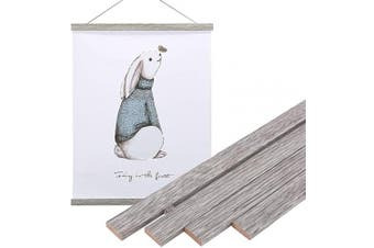 (28cm , Grey) - Artmag Magneitc Poster Hanger Frame, 11x 14 11x 17 Light Wood Wooden Magnet Canvas Artwork Print Dowel Poster Hangers Frames Hanging Kit (Grey, 28cm )