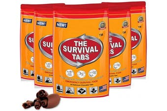 (5 x 24-Tab Pouch) - Emergency Food Supply - 10 Days Survival Food for Emergency Situation - Gluten Free and Non-GMO 25 Years Shelf Life (120 tabs - Chocolate)