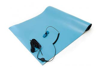 (80cm  Wide x 80cm  Long x 0.2cm  Thick, Blue) - Bertech ESD High Temperature Rubber Mat Kit with a Wrist Strap and a Grounding Cord, 80cm Wide x 80cm Long x 0.2cm Thick, Blue