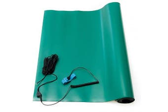 (60cm  Wide x 60cm  Long x 0.2cm  Thick, Green) - Bertech ESD High Temperature Rubber Mat Kit with a Wrist Strap and a Grounding Cord, 60cm Wide x 60cm Long x 0.2cm Thick, Green