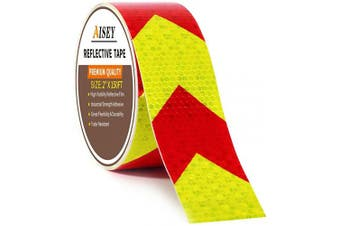 (5.1cm  X 46m) - 5.1cm X 46m Reflective Tape Waterproof High Visibility Red & Yellow, Hazard Caution Warning Adhesive Tape Outdoor for Floor Marking, Trailers, Trucks, Cars