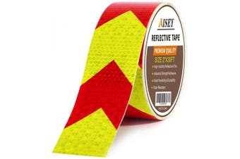(5.1cm  X 9.1m) - Reflective Tape Waterproof High Visibility Red & Yellow, Industrial Marking Tape Heavy Duty Hazard Caution Warning Safety Adhesive Tape Outdoor (5.1cm X 9.1m)