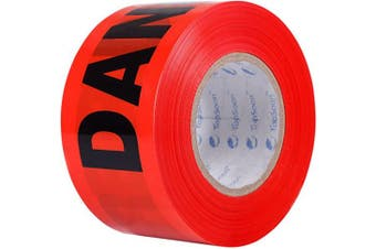 """(300m, Red """"DANGER"""") - TopSoon Red DANGER Tape Caution Tape Roll 7.6cm by 300m Non-Adhesive Sharp Red Colour Warning Tape"""