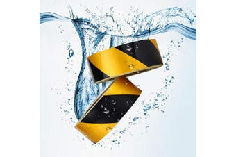 (Yellow&Black) - Waterproof Reflective Safety Tape Roll 5.1cm X46m Yellow Black Striped Floor Marking Tape Hazard Caution Warning Tape Auto Truck Self-adhesive Safety Sticker Strips for Wall Factory Trailer Vehicle