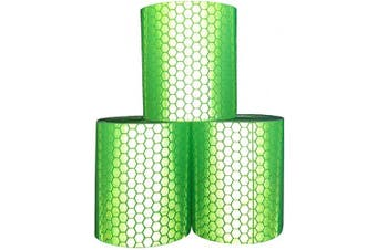(Green × 3 Rolls) - Viewm Green Reflective Tape Reflective Warning Tape Safety Reflector Tape, 2 inches × 3.28 yard / 5 cm × 3.0 m Per Roll, 3 Rolls