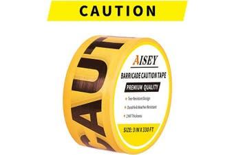 "(Yellow Caution Tape) - Yellow Caution Tape Roll Non-Adhesive, Quarantine Tape 3"" X 100m - Safety Barrier Hazard Warning Barricade Tape for Danger/Hazardous Areas, Tear Resistant Design"