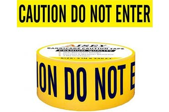 "(Yellow Caution Do Not Enter Tape) - Yellow Caution Tape Roll Non-Adhesive, Quarantine Tape 3"" X 100m - Safety Barrier Hazard Warning Barricade Tape for Danger/Hazardous Areas, Tear Resistant Design"
