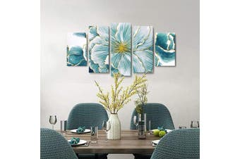 (100cm  x 60cm , Teal Floral Wall Art) - Teal Wall Art Abstract Floral Canvas Print with Hand-Painted Texture and Gold Foil Wall Decor Framed Picture for Modern Living Room Bedroom Office 5 Pieces