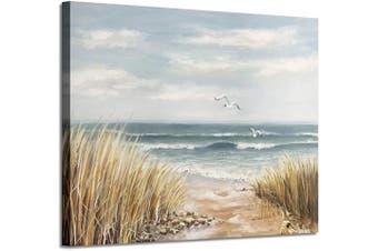 (60cm  x 46cm  x 1 panel, Seashore) - Seashore Artwork Coastal Wall Art: Abstract Beach Art Painting Print on Wrapped Canvas for Room Decoration (60cm x 46cm )