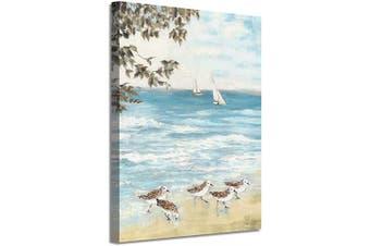 (60cm  x 46cm  x 1 panel, Ocean Prints) - Abstract Ocean Artwork Coastal Picture: Beach Painting Sea Birds Wall Art Print on Canvas for Office Living Room (60cm x 46cm x 1 Panel)