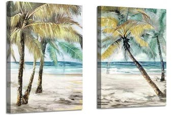 (60cm  x 46cm  x 2 panels, Coconut Tree Hand Painted) - Beach Palm Trees Wall Art: Abstract Coastal Seascape Artwork Print on Canvas Pictures for Living Room (60cm x 46cm x 2 Panels)